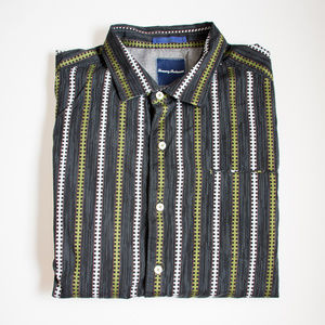 Tommy Bahama Black and Green Striped Button Down